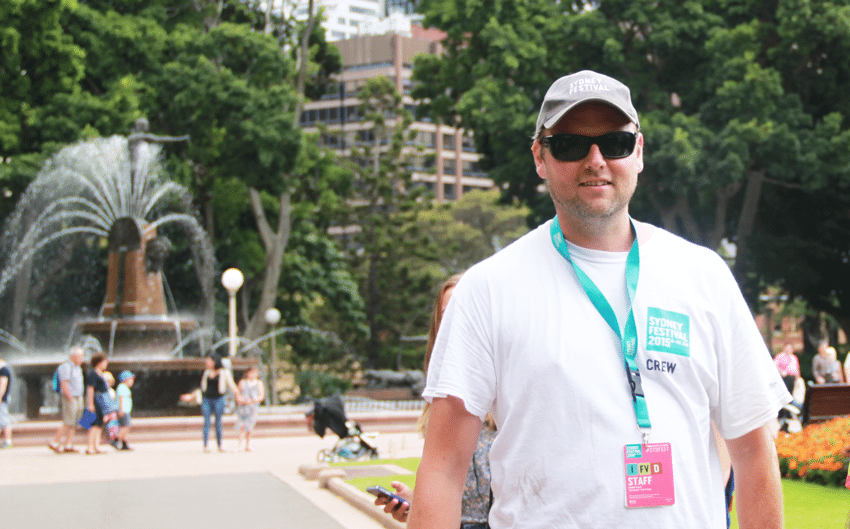 Event pro Damian Negus onsite at Sydney Festival in Hyde Park