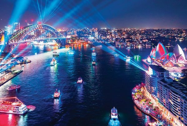 amazing light show over Sydney harbour with emphasis on the harbour bridge and the opera house