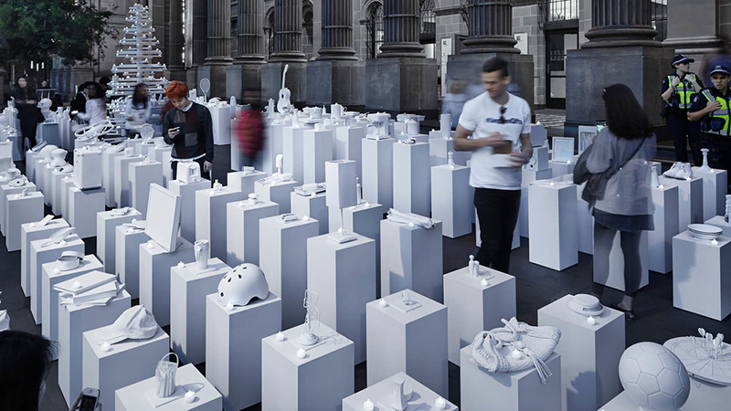 White sculptures in public place to illustrate the Ungiven Gifts cause