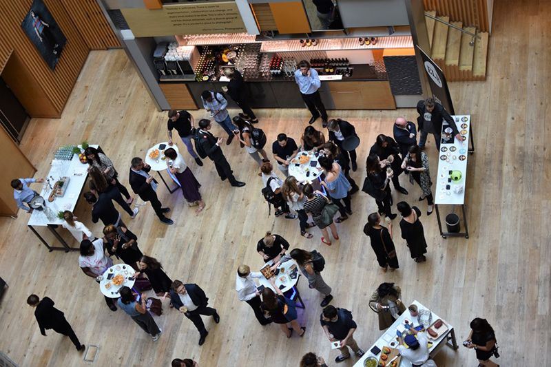 Aerial shot of business people networking