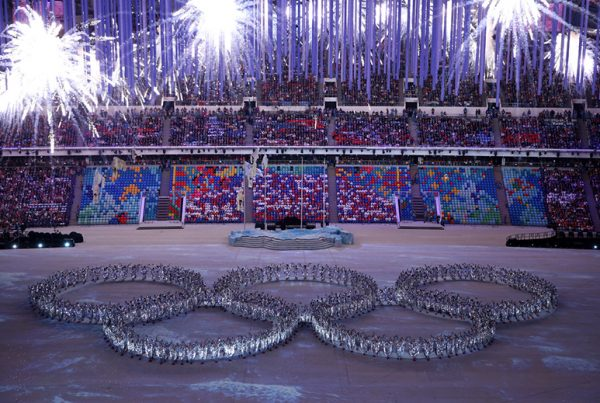 Opening ceremony of Sochi Olympics. People form the Olympic rings.