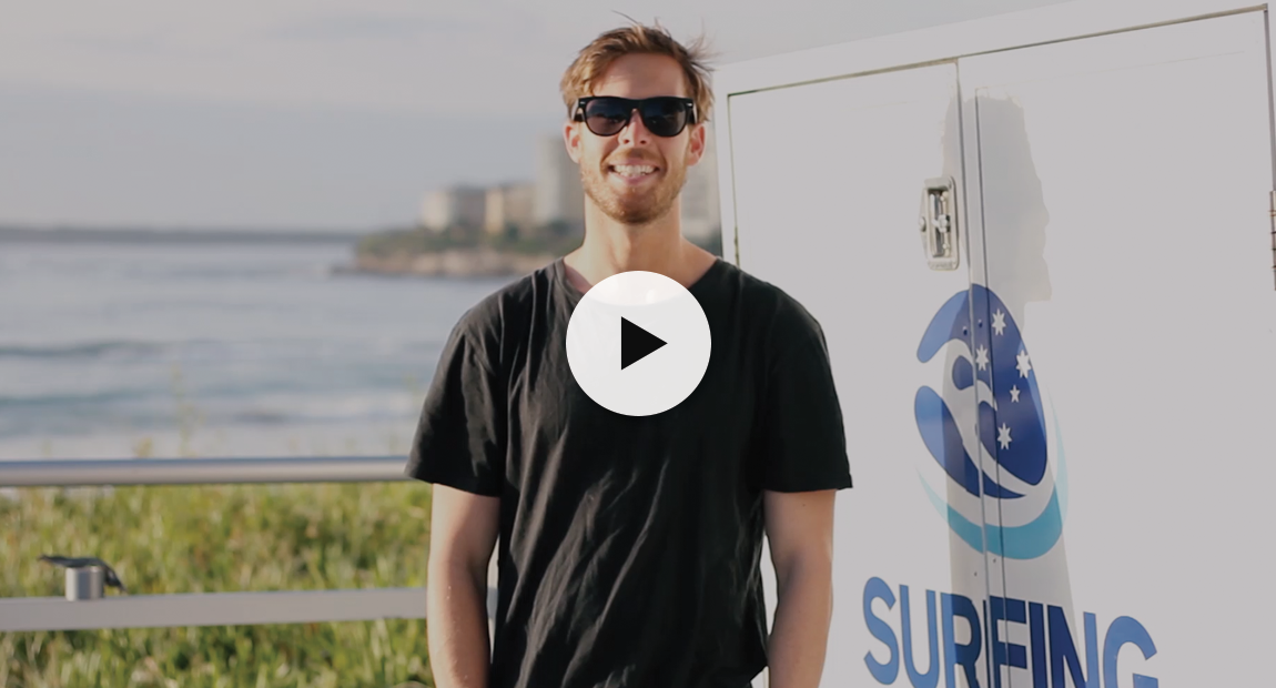 Video placeholder of Ben in from of Surfing NSW event truck