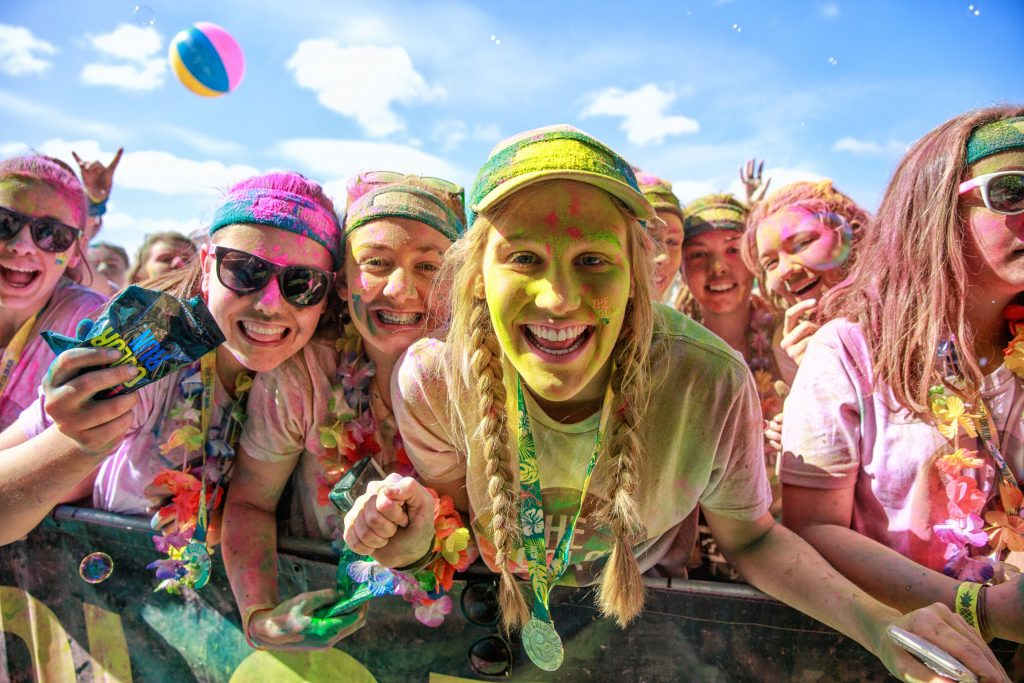 Colour run girls having fun