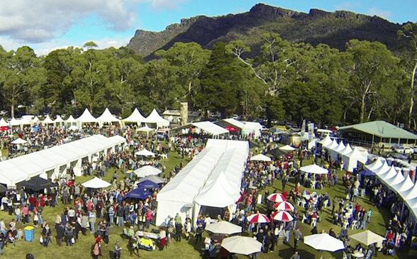 Aerial of festival site, Grampions Grape Escape