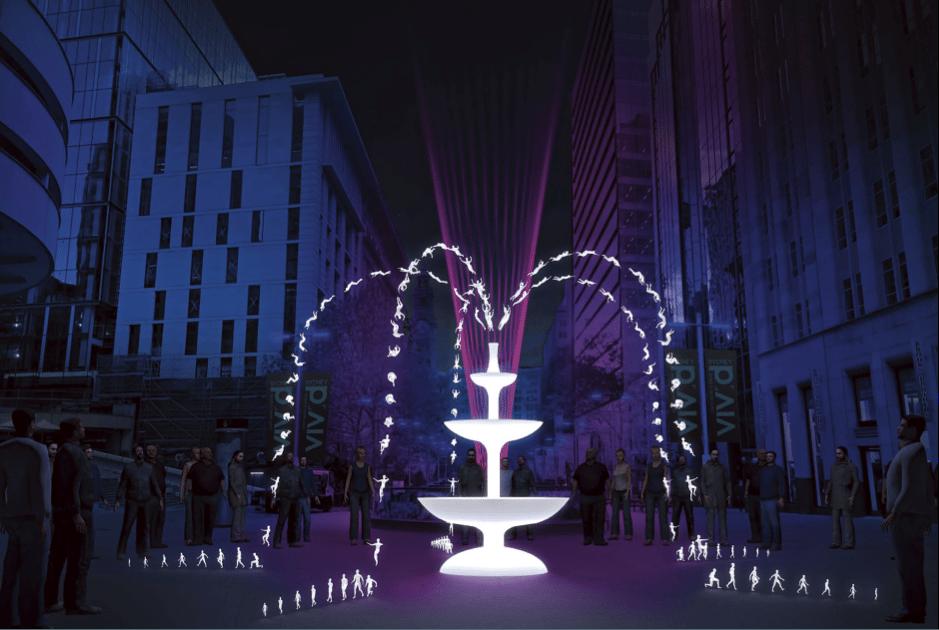 Fountain light show at Vivid Sydney